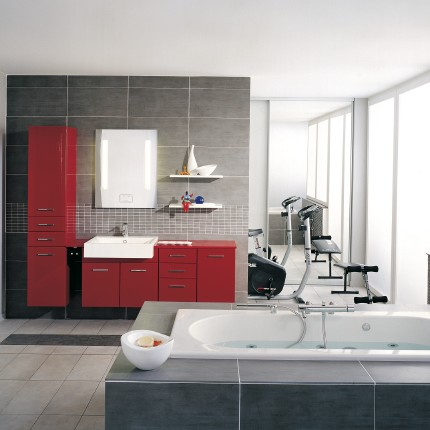 Duvivier s rl installations sanitaires for Salle de bain rouge et blanche